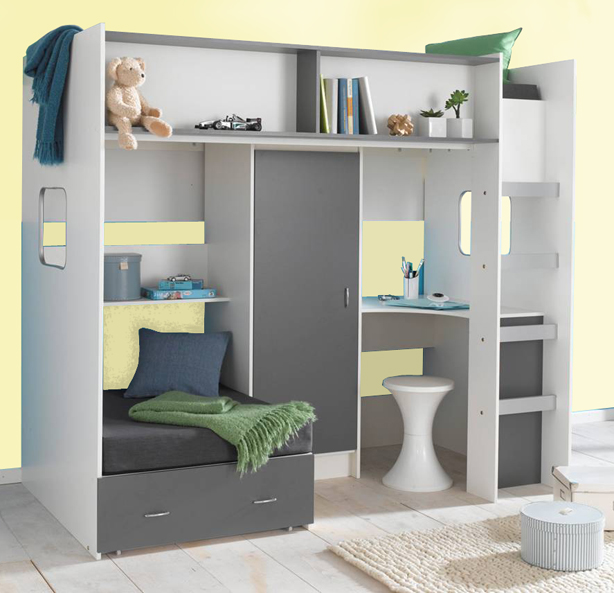High Sleeper Loft Style Cabin Bed With Hideaway Futon Bed