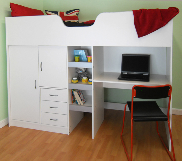 High sleeper cabin bed with desk and wardrobe also wood ...